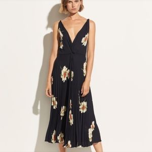 Vince, Gardenia Floral Pleated Twist Front Dress